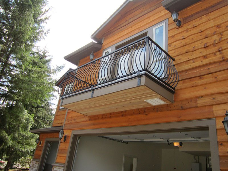 Facia mounted iron balcony