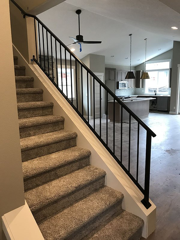 vertical picket iron rails