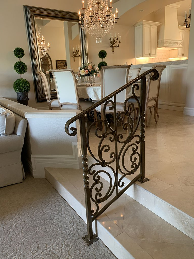 ornate iron rail for interior luxury home